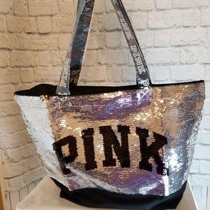 PINK Victoria's Secret Sequin Bling Logo Tote Bag